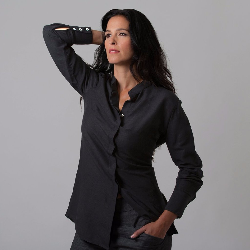 Ana Button Down Shirt (Black Silky)