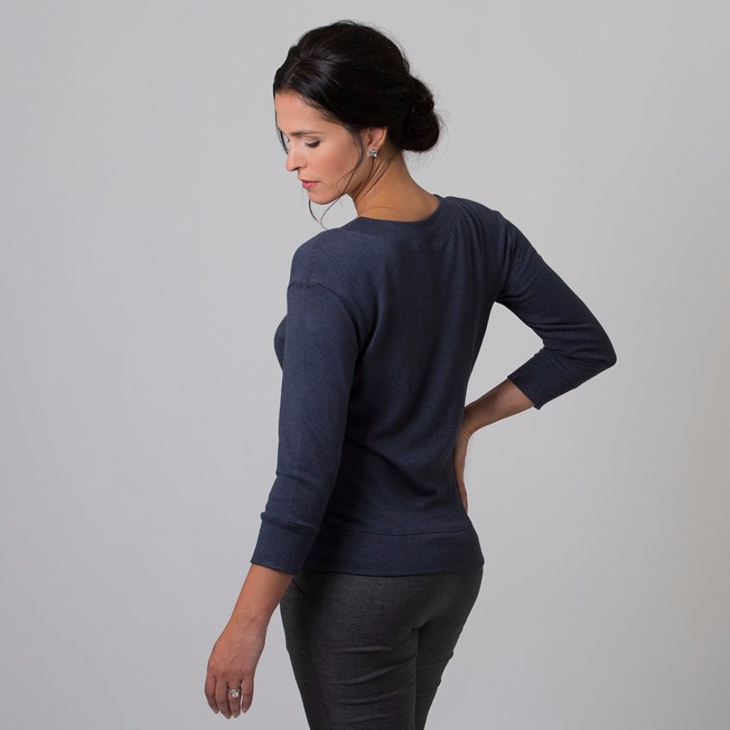 Wanda Scoop Neck Sweater (Navy Blue)