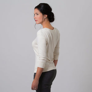 Wanda Scoop Neck Sweater (White)