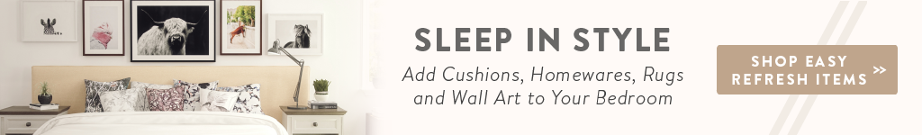 sleep in style easy refresh with cushions, rugs, homewares, or wall art.
