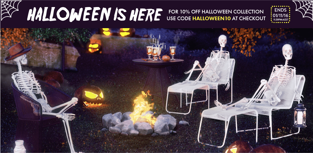 Halloween furniture discount. 10% off use halloween10 at checkout.
