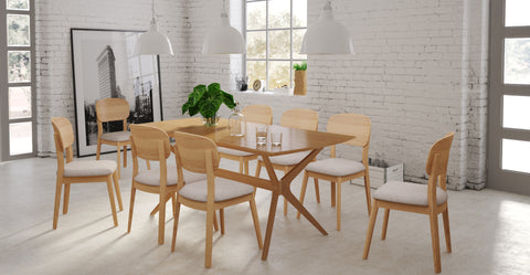 elizabeth table and 8 mia chairs