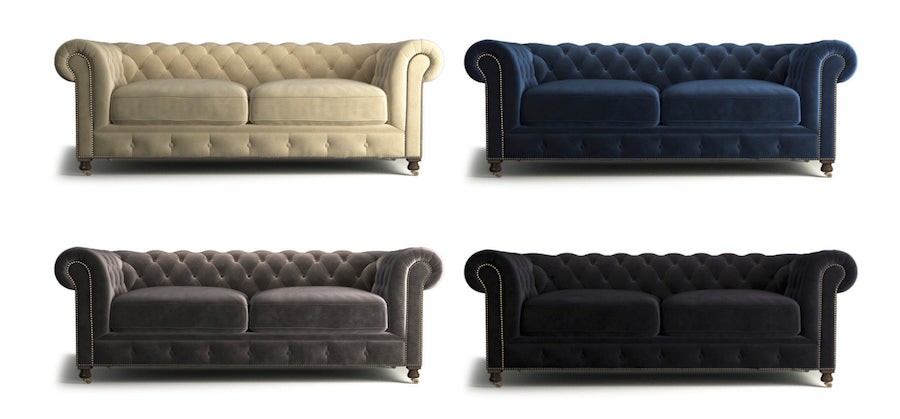 notting hill chesterfield - putty beige, ocean blue, cosmic anthracite and ebony black