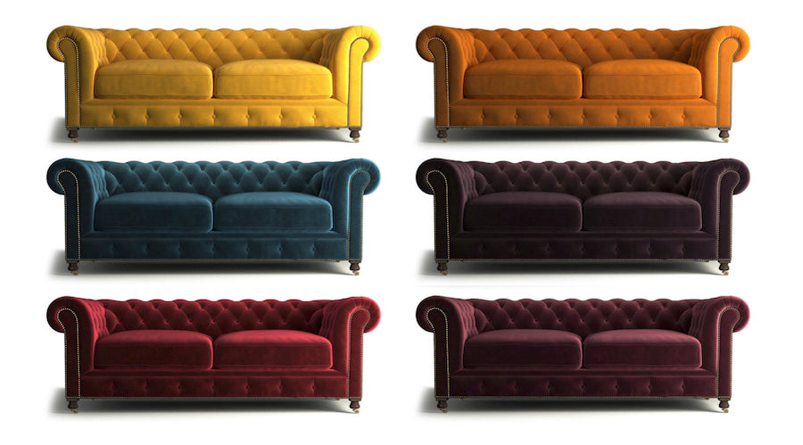 notting hill chesterfield - yellow gold, tangerine orange, peacock teal, amethyst purple, venetian red and heritage red