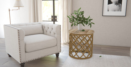 rupert side table in living room with geometric style rug