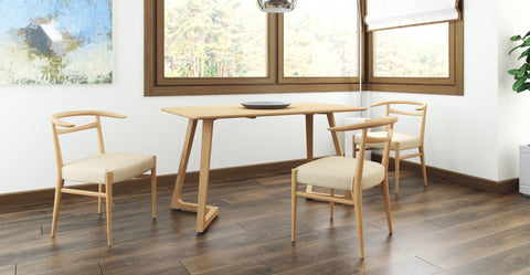 Nara Dining Table & 3 Avik Dining Chair Set