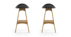 Kim Leather Set of 2 Bar Stools