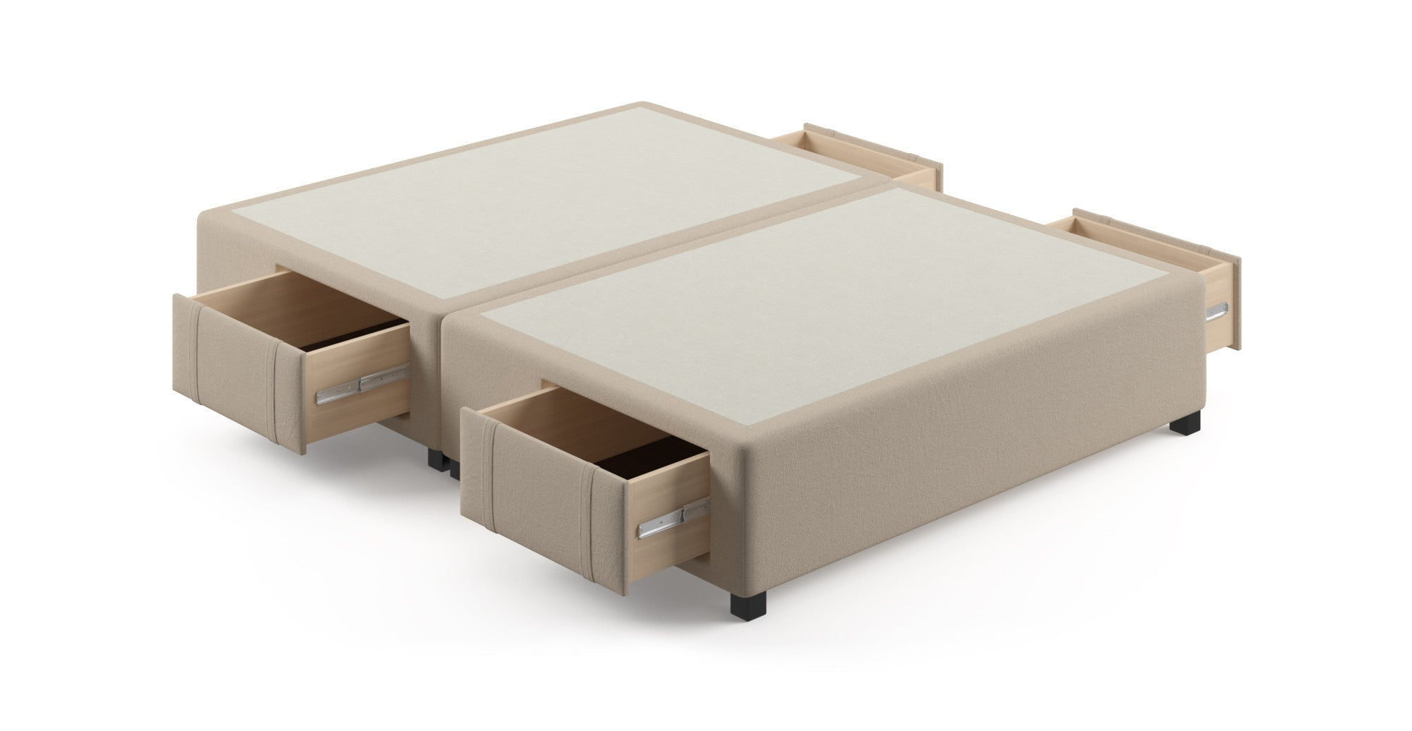 Queen size upholstered bed frame base with storage drawers for Upholstered bed with drawers