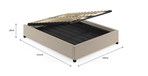 Queen Size Upholstered Gas Lift Bed Frame Base