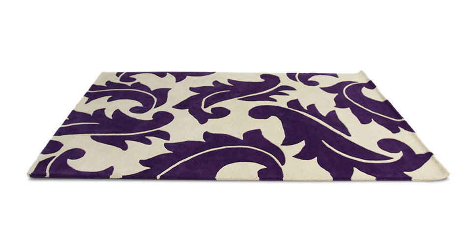 Contemporary Wool Rug - Blomstra Rug in Purple and Ivory White