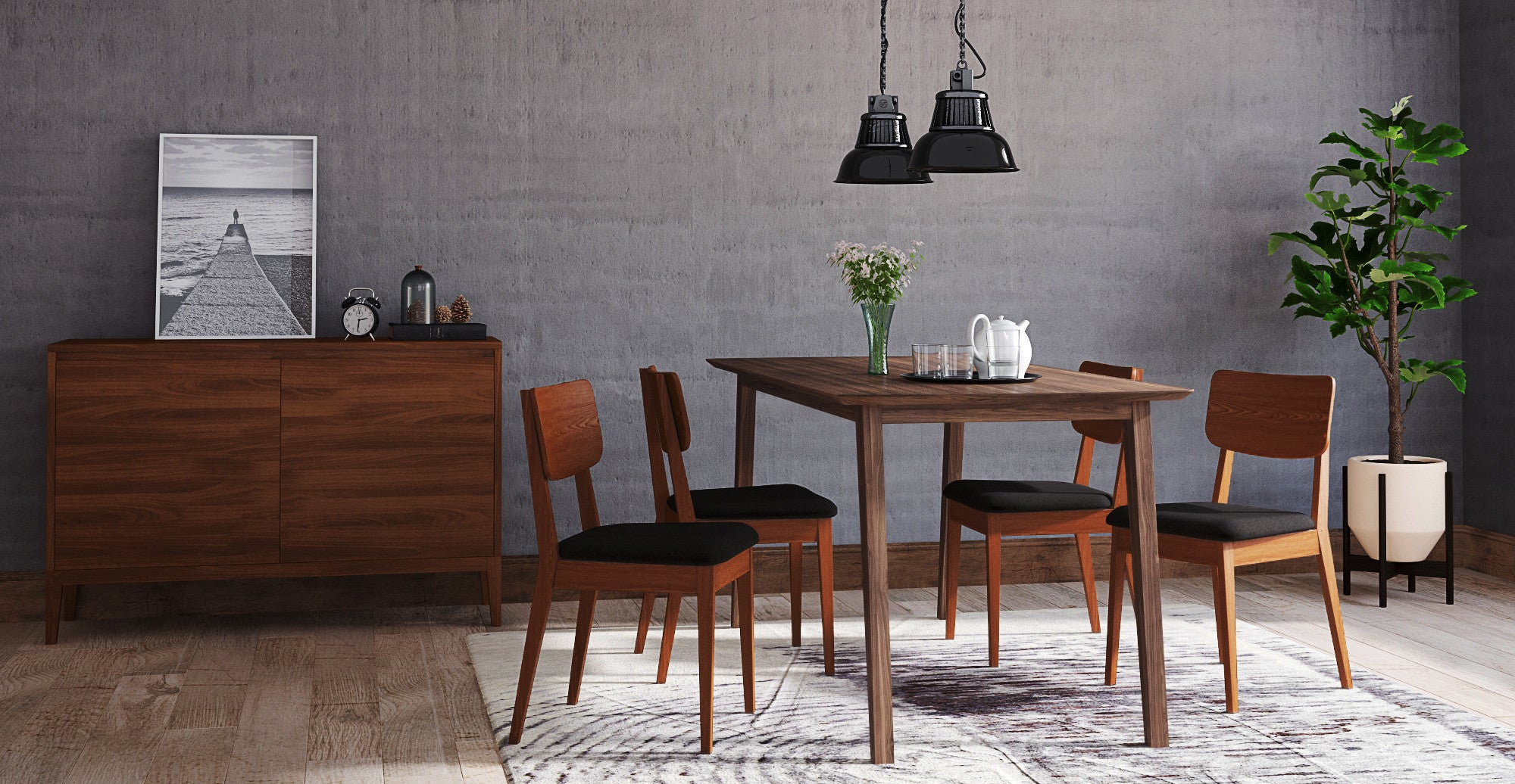Bristol Dining Table & 4 Mokuzai Dining Chairs