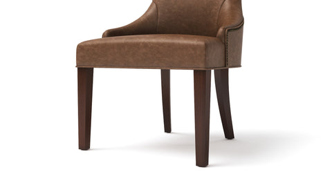 Zoe Leather Scoop Back Dining Chair