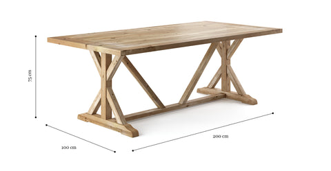 Chablis Trestle Dining Table 200 x 100