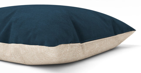 Elementary Cushion Peacock Teal with French Beige