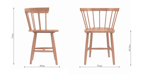 Henry 2 x Scoop Back Dining Chair