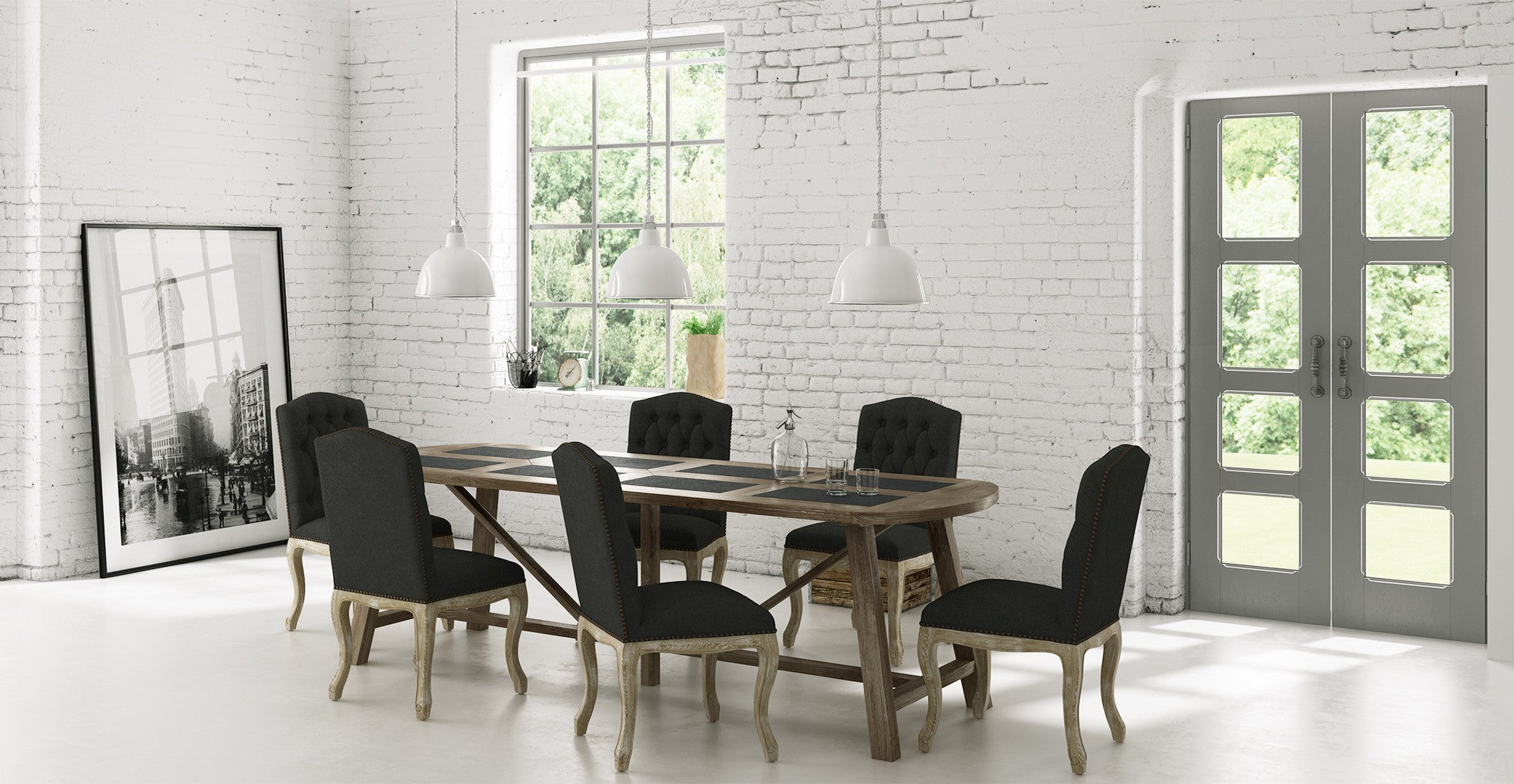 Warner Dining Table and 6x Marie Dining Chairs Set