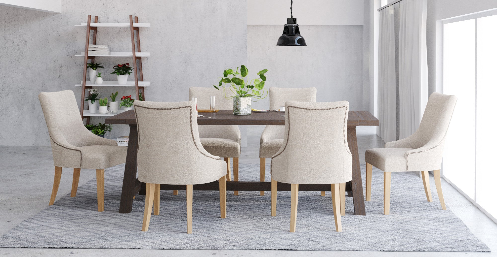 Chelsea Table & 6x Zoe Scoop Chairs Dining Set