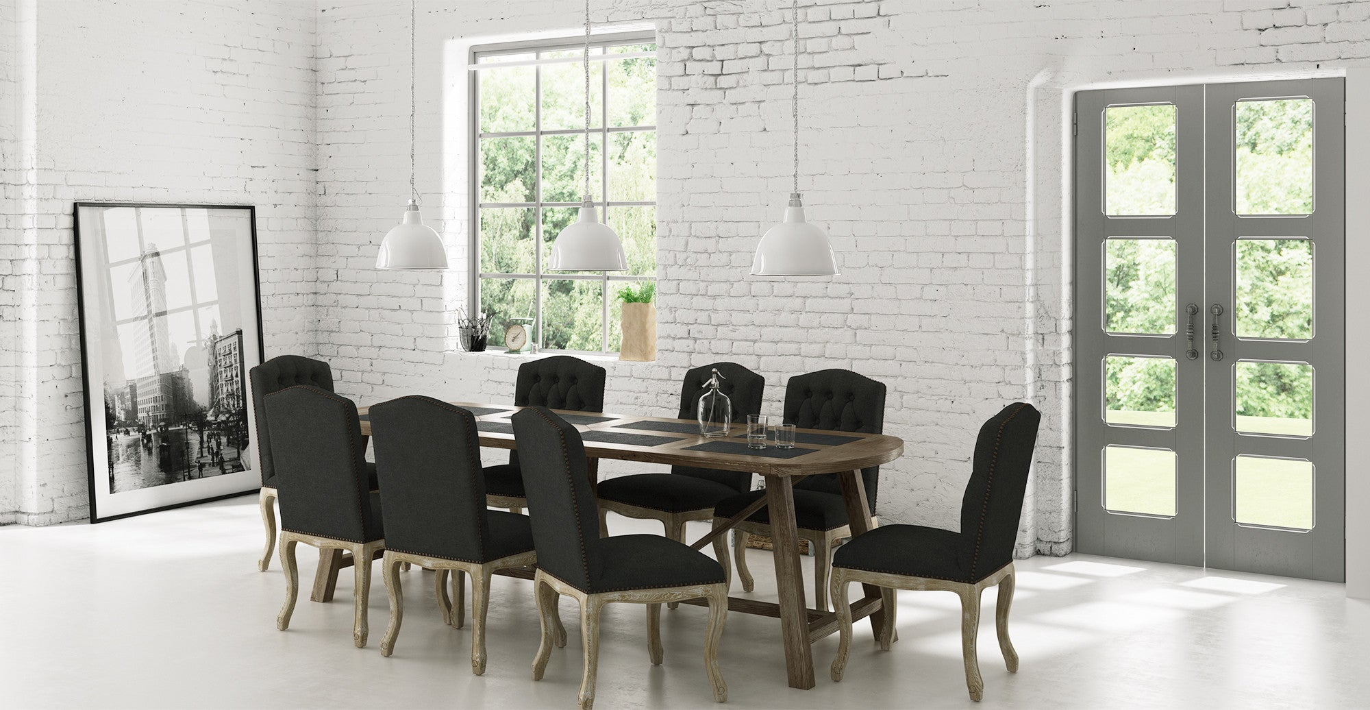 Warner Dining Table and 8x Marie Dining Chairs Set