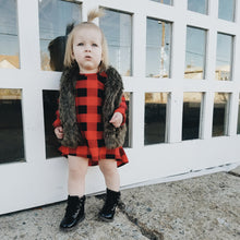 | SOPHIE | Black + Red Checkered High-Low Dress