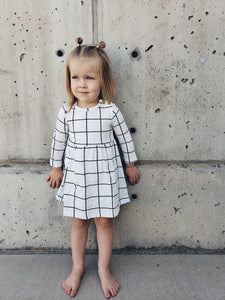 | CORA | White Black Grid Dress