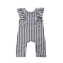 | LONDON | Striped Flutter Sleeved Romper