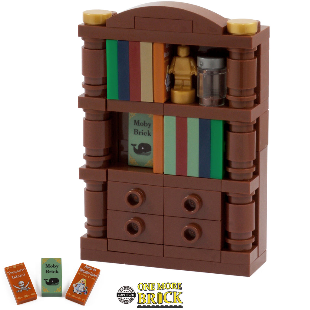 Bookcase with printed book tiles