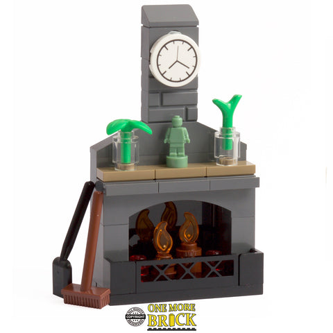 Fireplace with clock