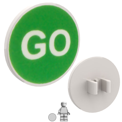 <small><sup>HF-055</small></sup><br>Road Sign - GO<br>2x2 Round plate with clip
