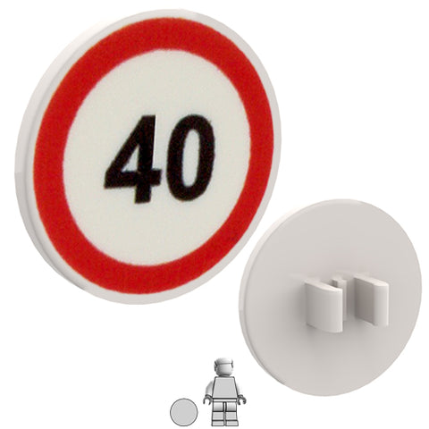 <small><sup>PSR-06</small></sup><br>Road Sign - 40 Limit<br>2x2 Round plate with clip
