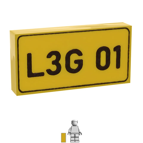 <small><sup>PVN-02</small></sup><br>Numberplate Rear L3G 01<br>1x2 Tile