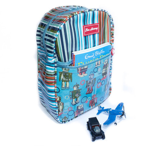 Lou Harvey Kids Backpack - Robot/Downey Stripe