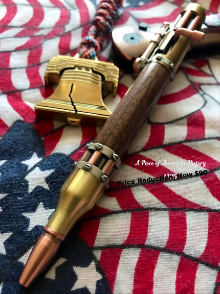 Steampunk Bolt Action, Ballpoint with Antique Brass and Copper with MI wood barrell