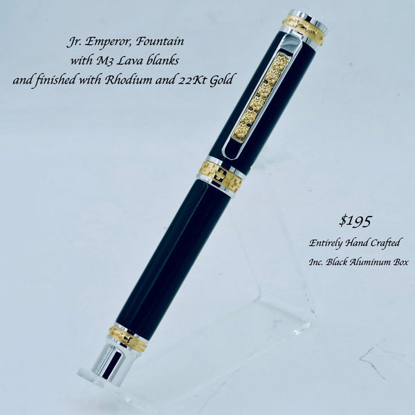 Jr. Emperor Rollerball, 22kt Gold & Rhodium accents With M3 Black Lava