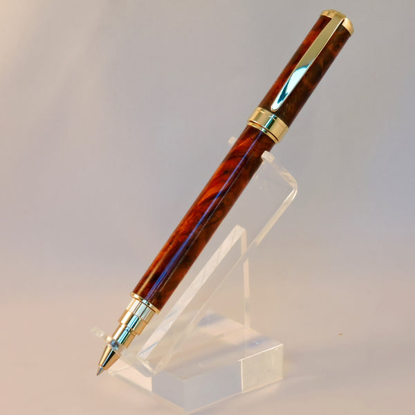 Magnetic Graduate Rollerball/Fountain Pen with Red Lace Burl