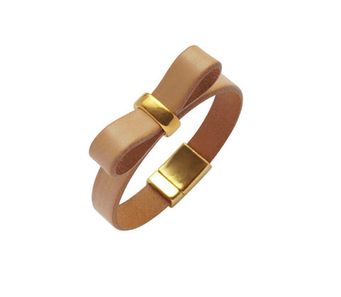 Nude Bow Leather Bracelet Ariane Jewels