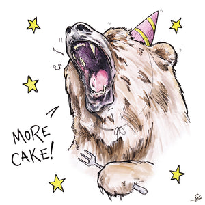 "A grizzly bear roaring ""More Cake!"""