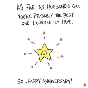 As far as Husbands go, you're probably the best one I currently have. So... Happy Anniversary!