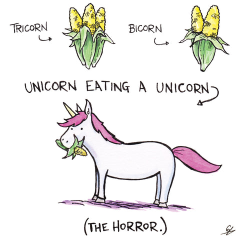 Tricorn, Bicorn, Unicorn eating a Unicorn.