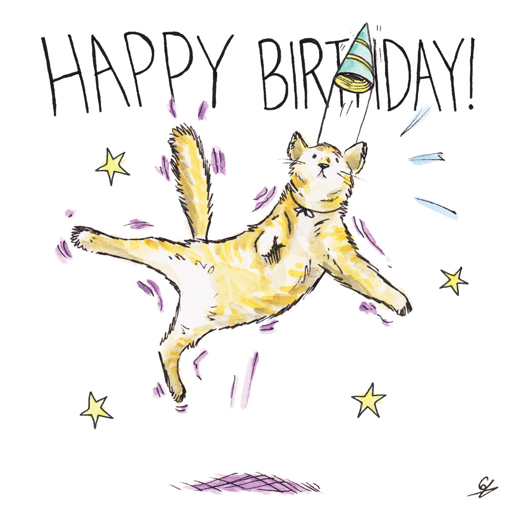 It's a jumping Happy Birthday Cat!