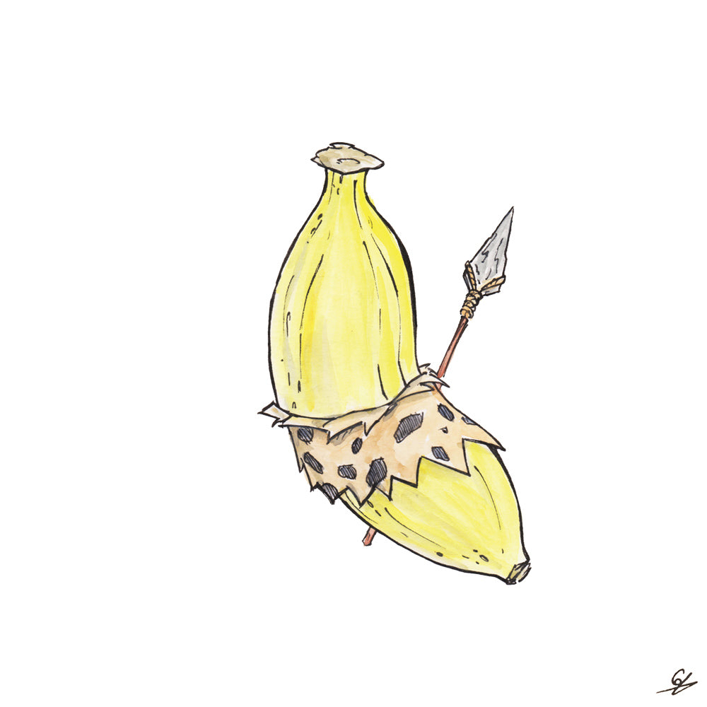 A Banana dressed like a caveman, with flint spear