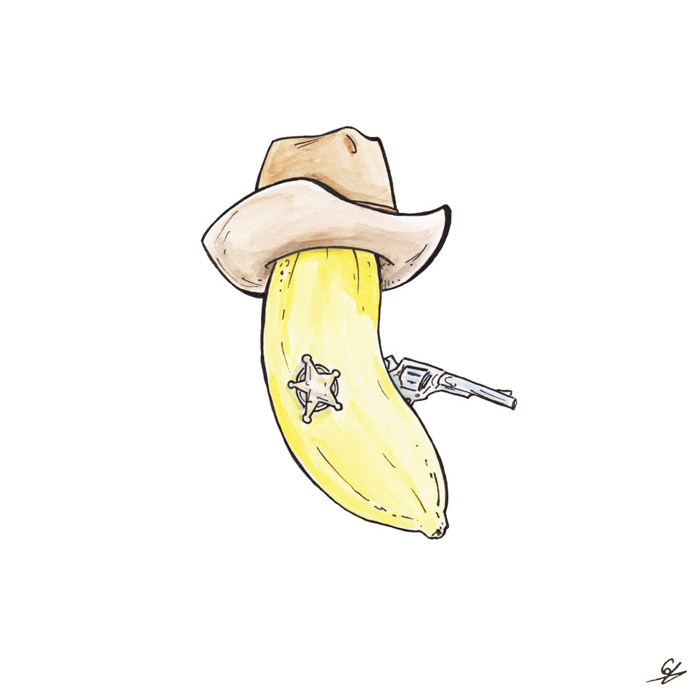 A Banana dressed like a Sheriff.