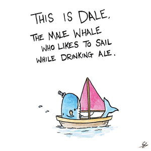Dale the Male Whale Greeting Card