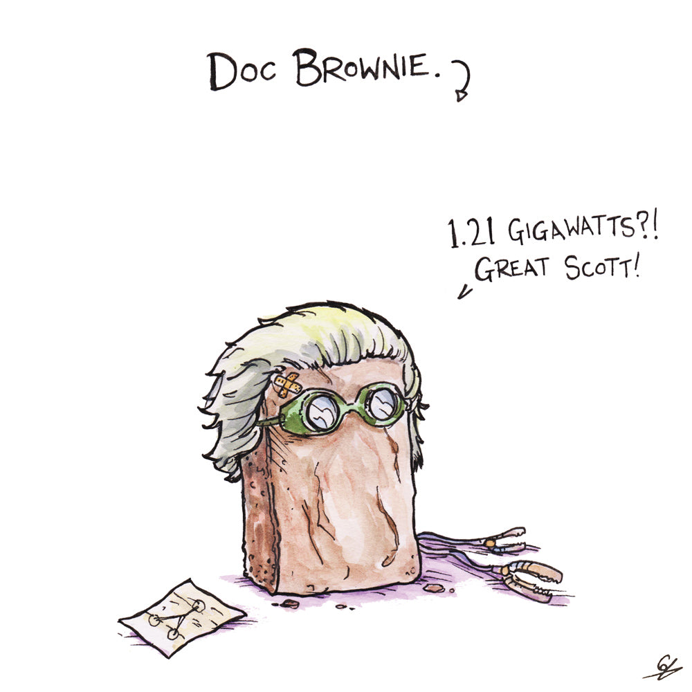 Doc Brownie - It's a brownie that looks like Doc Brown from Back to the Future.