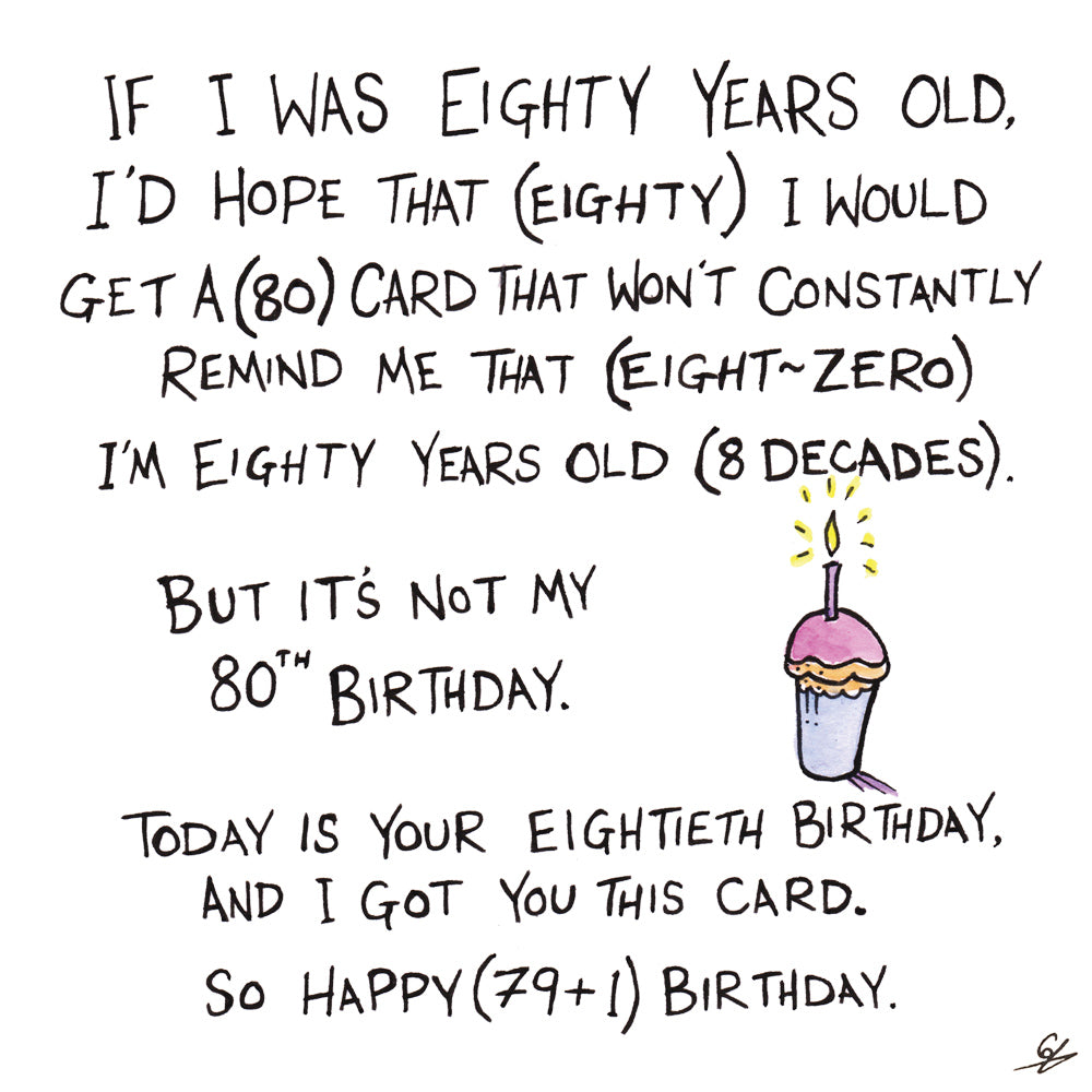 An 80th Birthday card that constantly reminds the bearer that they're 80.