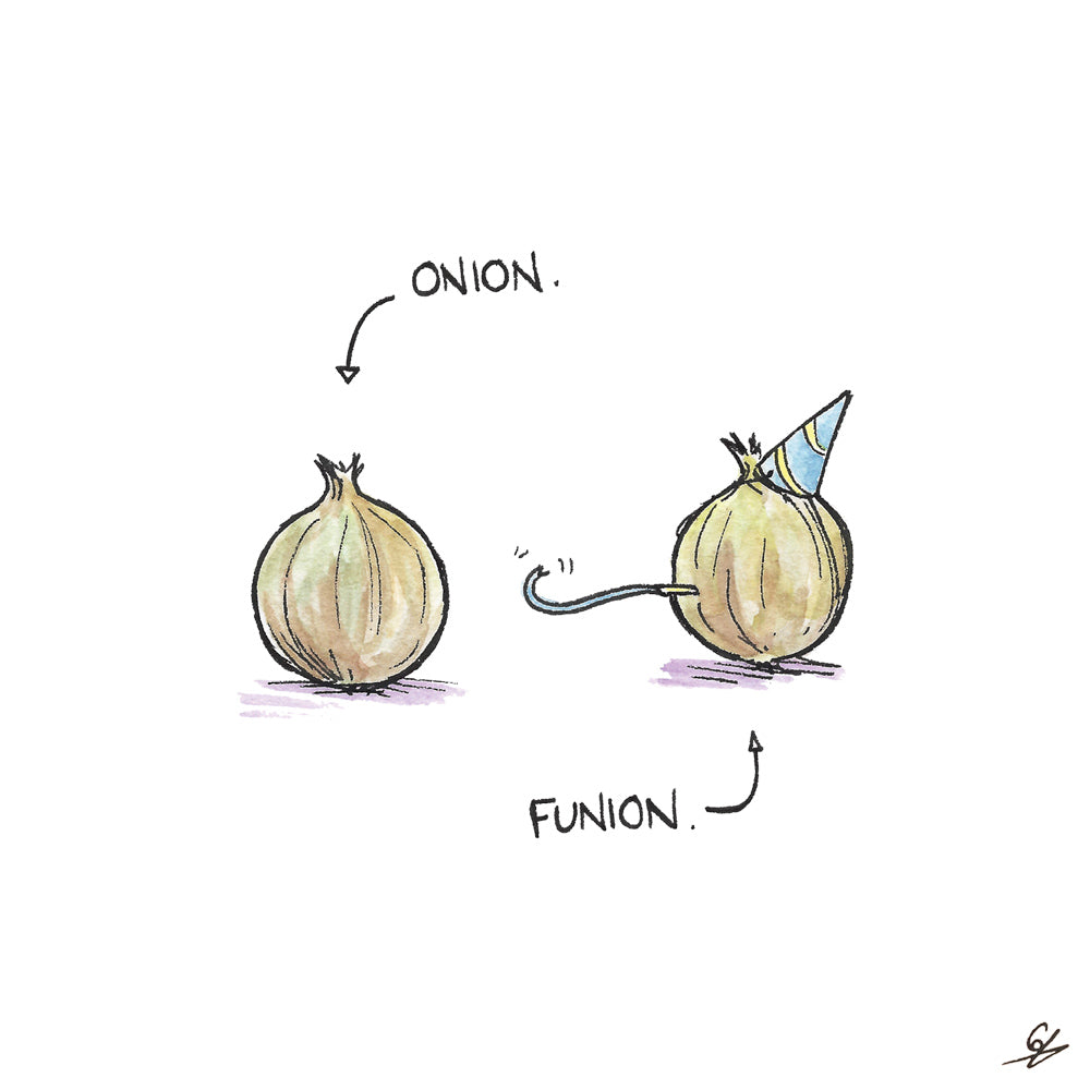 An Onion in a party hat is definitely a Funion