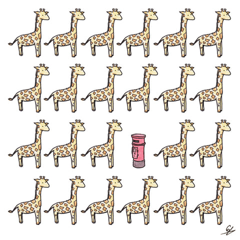 A bunch of Giraffes and a Post Box