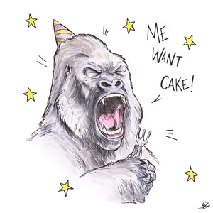"A Gorilla holding a fork and wearing a party hat shouting ""Me Want Cake!"""