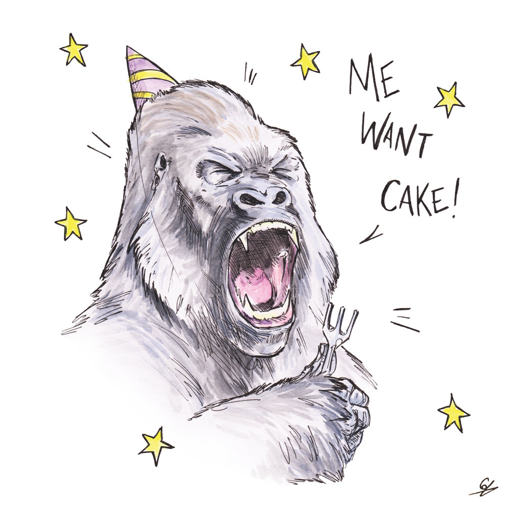 A Gorilla holding a fork and wearing a party hat shouting