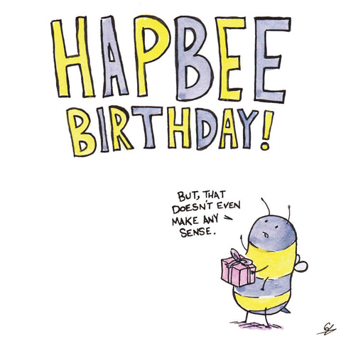 Hapbee Birthday! A Bee holding a present.