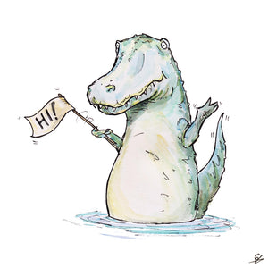 An Alligator in a pool of water waving a little sign that reads 'Hi!'